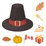 Ícones dos desenhos animados do dia da ação de graças de Canadá na coleção do grupo para o projeto Web do estoque do símbolo do v ilustração royalty free