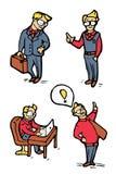 Ícones dos desenhos animados do homem de negócios ajustados Fotografia de Stock