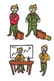 Ícones dos desenhos animados do homem de negócios ajustados Imagem de Stock