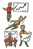 Ícones dos desenhos animados do homem de negócios ajustados Fotografia de Stock Royalty Free
