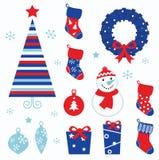 Ícones dos desenhos animados do Natal & elementos (vermelho, azuis) Imagens de Stock