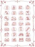 Ícones dos desenhos animados do tema do bebê Fotos de Stock