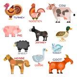 Ícones dos desenhos animados dos animais e dos pássaros da fazenda de criação Imagem de Stock
