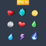 Ícones dos desenhos animados para a interface de utilizador do jogo Fotografia de Stock
