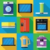 Ícones dos dispositivos ajustados em um projeto liso Fotos de Stock