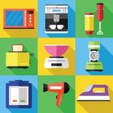 Ícones dos dispositivos ajustados em um projeto liso Imagens de Stock
