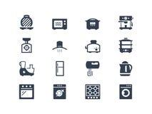Ícones dos dispositivos de cozinha Fotos de Stock