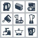Ícones dos dispositivos de cozinha do vetor ajustados Foto de Stock Royalty Free