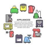 Ícones dos dispositivos de cozinha em uma composição do círculo feita no estilo liso Fotos de Stock Royalty Free