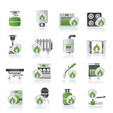 Ícones dos dispositivos de gás do agregado familiar Imagens de Stock