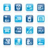 Ícones dos dispositivos de gás do agregado familiar Foto de Stock