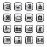 Ícones dos dispositivos de gás do agregado familiar Imagem de Stock