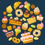 Ícones dos doces ajustados no estilo liso Imagens de Stock