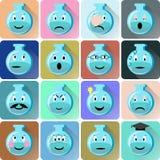 Ícones dos emoticons da garrafa ajustados Imagem de Stock Royalty Free