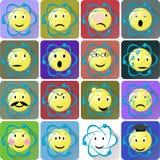Ícones dos emoticons do átomo ajustados Imagens de Stock Royalty Free