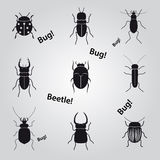 Ícones dos erros e dos besouros ajustados Foto de Stock Royalty Free