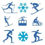 Ícones dos esportes de inverno Fotos de Stock Royalty Free