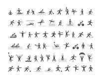 Ícones dos esportes do preto ajustados O vetor figura atletas Imagens de Stock