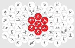 Ícones dos esportes e símbolos novos dos esportes ilustração stock