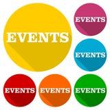 Ícones dos eventos ajustados com sombra longa Foto de Stock