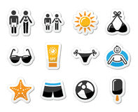 Ícones dos feriados da praia do verão ajustados Fotos de Stock