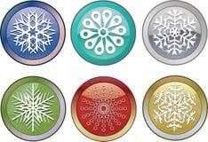 Ícones dos flocos de neve Fotos de Stock Royalty Free