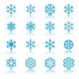 Ícones dos flocos de neve ajustados Foto de Stock Royalty Free