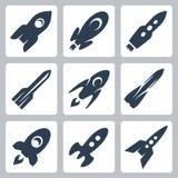 Ícones dos foguetes do vetor ajustados Foto de Stock Royalty Free