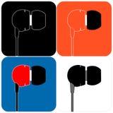 Ícones dos fones de ouvido do vácuo Foto de Stock Royalty Free