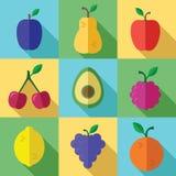 Ícones dos frutos ajustados com sombra longa em um projeto liso Fotos de Stock Royalty Free