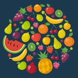Ícones dos frutos ajustados no estilo liso Fotos de Stock