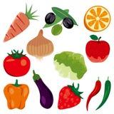 Ícones dos gêneros alimentícios ajustados ilustração stock