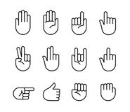 Ícones dos gestos de mão Fotos de Stock Royalty Free