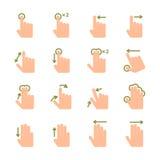 Ícones dos gestos do toque da mão ajustados Foto de Stock Royalty Free