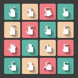Ícones dos gestos do toque da mão ajustados Imagem de Stock Royalty Free