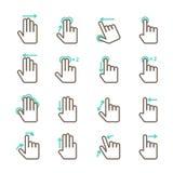 Ícones dos gestos do toque da mão ajustados Fotografia de Stock