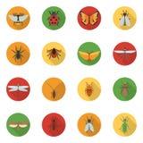 Ícones dos insetos lisos ilustração royalty free