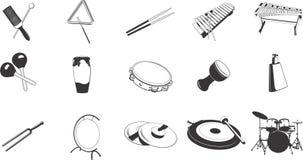 Ícones dos instrumentos de percussão Imagens de Stock