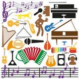 Ícones dos instrumentos musicais Fotografia de Stock