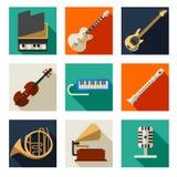 Ícones dos instrumentos musicais Imagens de Stock