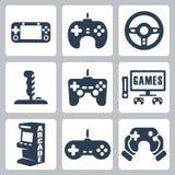 Ícones dos jogos de vídeo do vetor Fotografia de Stock