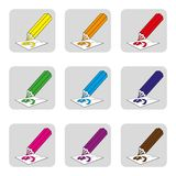 Ícones dos lápis coloridos, lápis para a ferramenta de desenhos multi-colorida para a ilustração de cor ilustração stock