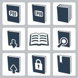 Ícones dos livros do vetor ajustados Foto de Stock