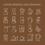 Ícones dos métodos da fabricação de cerveja do café ajustados Maneiras diferentes de fazer a bebida quente da energia Fotografia de Stock Royalty Free