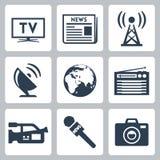 Ícones dos mass media do vetor ajustados Fotografia de Stock Royalty Free