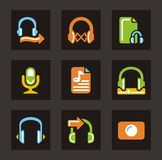 Ícones dos media - áudio Imagem de Stock