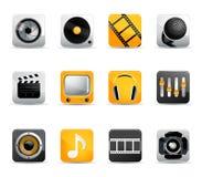 Ícones dos media Imagens de Stock