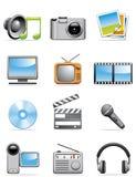 Ícones dos media Fotografia de Stock Royalty Free