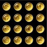 Ícones dos media da gota do ouro Imagens de Stock