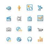 Ícones dos media do contorno Imagens de Stock